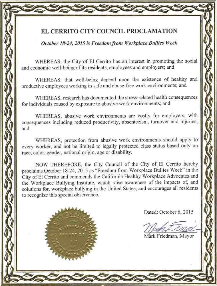 city proclamations workplace bullying institute el cerrito